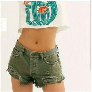 FREE PEOPLE Loving Good Vibrations Destroyed Cutoff Denim Shorts